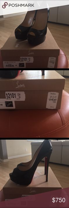 Christian Louboutin black heels Selling these beautiful lady peep 150 patent calf black heels. Originally purchased in Neiman Marcus (Vegas) they are in great condition. Only worn 2 times to main events.  It comes in the original box, original red bag and has extra heel studs. 10B which is a 10 but I'm originally an 8. Christian Louboutin Shoes Heels