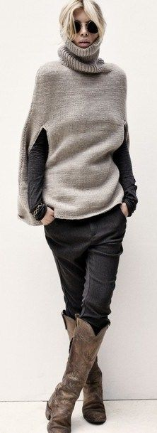 Rabens Saloner - INSPIRATION ONLY - NOTE:  see DROPS design's pattern for poncho on my page - knit it plain for similar look.