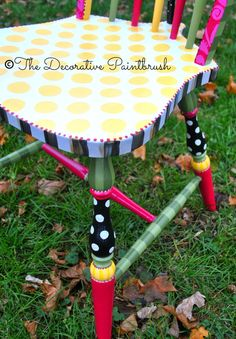 The Decorative Paintbrush, Designs by Mary Mollica chair me up is part of Painted furniture - Whimsical Painted Furniture, Hand Painted Chairs, Hand Painted Furniture, Funky Furniture, Paint Furniture, Repurposed Furniture, Furniture Projects, Furniture Makeover, Furniture Stores