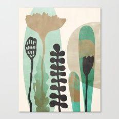 Abstract Botanical - Sea Green Canvas Print