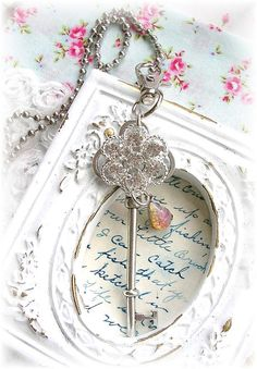 Antique Style Skeleton Key Necklace Rhinestone Button Floral Opal Pear Drop Purse Pull Bag Charm Ball Chain OOAK