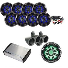 Kicker Marine Bundle 40KXM8005 Amp+OEM Replacement Speakers + 41KMW102LC Sub+ 10ZXMRLC