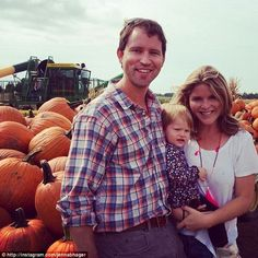 'My dearest pumpkins!' Jenna Bush Hager shared this sweet photo of herself with husband Henry and 18 month old daughter Mila picking out a pumpkin for Halloween.