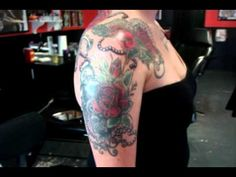 #wrap #back #shoulder #chest #roses #pearls #lace #touchofcolor #red #blackandgrey #tattoo #studio13tattoomg