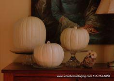 pumpkins on a pedestal/cake stand