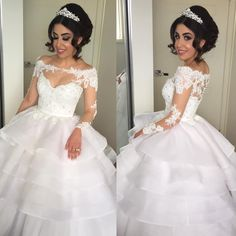 2016 Vestios Brazilian Lace Wedding Dresses Sheer Crew Neck Long Sleeves Appliques Off Shoulders Button Tiered Skirts Ball Gown Bridal Gowns A Line Halter Wedding Dress A Line Princess Wedding Dresses From Allanhu, $209.43  Dhgate.Com