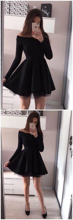 Outfit black Off-the-Shoulder Long Sleeves Black Tulle Homecoming Dress,Short Prom Dresses,BD. Off-the-Shoulder Long Sleeves Black Tulle Homecoming Dress,Short Prom Hoco Dresses, Trendy Dresses, Elegant Dresses, Fashion Dresses, Dress Prom, Prom Gowns, Short Prom Dresses, Long Sleeve Homecoming Dresses, Homecoming Outfits