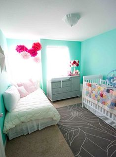 Day bed & crib. Grey, teal, white and pink. Shared bedroom.