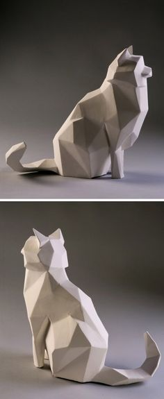 concrete cat scarecrow - Sculpture - Print the sulpture yourself - Geometric Cat Sculpture Print-A-Pet! No litter box to clean with this kitty! Art Sculpture, Animal Sculptures, Sculpture Ideas, Deco Design, Art Design, Geometric Cat, Modern Art Movements, Modelos 3d, Ideias Diy