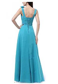 Hanxue Women's Flowers Chiffon Long Bridesmaid Dresses Lake Blue US10