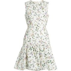 Giambattista Valli Floral-print sleeveless faille dress (€1.175) ❤ liked on Polyvore featuring dresses, vestidos, white print, floral pattern dress, white floral print dress, white ruffle dress, floral dresses and flower print dress