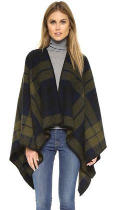 Faribault Woolen Mills Shadow Plaid Blanket Cape ($275)