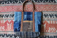 Antique japanese sashiko stitched indigo and sakabukuro sakiori boro tote bag