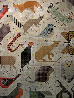 Charley harper space for all species mural john weld for Charley harper mural cincinnati