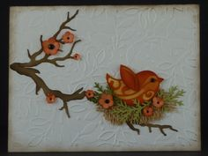 handmade card ...adorable die cut bird in amongst punched flowers and foliage ... die cut branch ... embossing folder leaves ... luv it!!