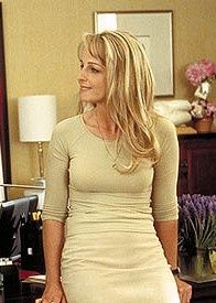 """Darcy Maguire ( Helen Hunt ) dons this simple,but beautiful cream skirt and blouse and fierce cherry tomato heels """"What Women Want"""", 2000 . Divas, Helen Hunt, Cream Skirt, What Women Want, Mel Gibson, Por Tv, Thing 1, Sexy Older Women, Up Girl"""