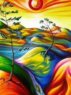 Cool painting idea! Awesome hillside painting with flowing colors to make the hills, sparse trees and a cute sun. Please also visit www.JustForYouPropheticArt.com for more colorful art ideas. Pin as much as you want. Thanks for looking!