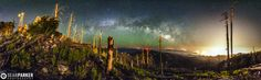 """Lost But Not Forgotten  Copyright : Sean Parker  """"Back in 2003, Mt Lemmon suffered a severe forest fire that destroyed 84,750 acres of land including 350 homes and business in Summerhaven. Here is my widest panoramic, 300 degrees, showing some of the aftermath. The glow you see down at the right is not a fire, but light pollution from Tucson, Arizona."""""""