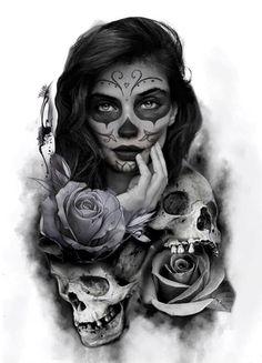 Sugar Skull Tattoo Sleeve Santa Muerte 50 New Ideas Art Chicano, Chicano Tattoos, Body Art Tattoos, Girl Tattoos, Wolf Tattoo Design, Skull Tattoo Design, Tattoo Sleeve Designs, Sleeve Tattoos, La Muerte Tattoo