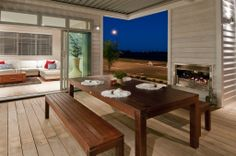 Homes built for living Indoor Outdoor Living, Outdoor Areas, Outdoor Decor, Covered Decks, My Dream Home, Building A House, Outdoor Furniture Sets, Modern Design, Brick
