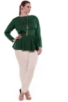JIBRI Long Sleeved Peplum Top