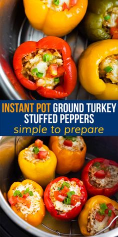 Instant Pot ground turkey stuffed peppers have 5 ingredients and are simple to prepare. They also work well for meal prep! So quick to cook up in the Instant Pot when you're ready. #sweetpeasandsaffron #instantpot #bellpeppers #groundturkey