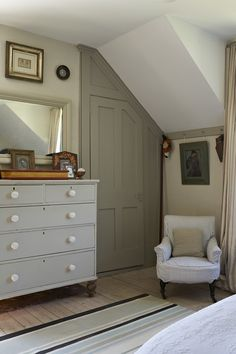 Love the closet door (Our 3rd bedroom ceiling slant is the same) French Country Home, French Living - Sharon Santoni