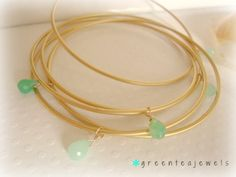 5 gold bangles - handwired gorgeous chrysophase drops  - simple gemstone jewelry