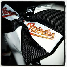 O's & Bows: Black Base w/White Center Stripe Featuring the Classic Orioles Logo in Orange by ThePunkLife on Etsy