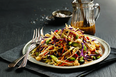 - Tricolour Cabbage and Chicken Slaw - dressing with a lot of sesame oil,- tasty...