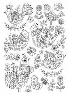 Birds by Felicity French Colouring Pages, Adult Coloring Pages, Coloring Books, Madhubani Art, Madhubani Painting, Embroidery Stitches, Embroidery Patterns, Hand Embroidery, Doodle Drawings