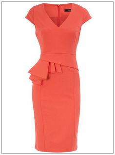 Red Celebrity V Neck Ruffle Layer Pencil Dress