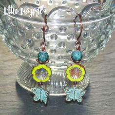 Chartreuse Green & Patina Butterfly Earrings