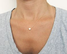 Gold Or Silver Tiny Dot Necklace / Small Gold Circle Necklace / Simple Gold Necklace. $24.00, via Etsy.