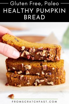 This easy paleo pumpkin bread is ultra tender with an irresistible pumpkin pie flavor. You would never know it's grain free and naturally sweetened! #paleopumpkinbread #glutenfreepumpkinbread #healthypumpkinbread #easypumpkinbread Gluten Free Recipes For Breakfast, Easy Bread Recipes, Gluten Free Breakfasts, Sweet Recipes, Healthy Pumpkin Bread, Holiday Snacks, Oatmeal Bars, Food Time, Paleo Meals
