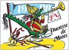 Autocollant, Folklore montois - Doudou - Ducasse de Mons 1988, Durant