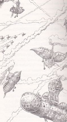 Phraxbarges take to the skies, from Chris Riddell and Paul Stewart's series The Edge Chronicles #edgechronicles #illustration #skyships #flying