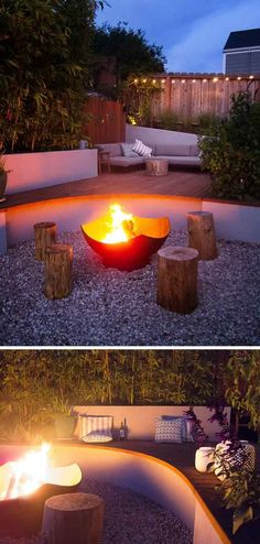 The main focal point of this modern landscaped backyard is a Corten steel wood burning firepit that's surrounded by wood stools and the curved part of the deck. This curved section also becomes additional seating. Fire Pit Landscaping, Small Backyard Landscaping, Modern Landscaping, Landscaping Ideas, Inexpensive Landscaping, Landscaping Software, Small Patio, Fire Pit Wall, Fire Pit Decor