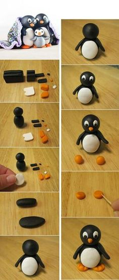 Drawing Hairstyles 135389532537596134 - FIMO DOUBLE PENGUEN – Women – Women DIY – Hairstyles – The idea of making Fimo a cute penguin was an idea that I really liked. After me he The Effec – Source by eleinesiffointe Fondant Figures, Clay Figures, Polymer Clay Miniatures, Polymer Clay Projects, Crea Fimo, Penguin Cakes, Kids Clay, Fondant Animals, Baking Clay