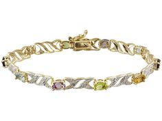 #Citrine, Brazilian #Amethyst, Vermelho Gamel, Manchurian #Peridot, Brazilian #BlueTopaz and White #Diamond accents set in 18k gold over sterling silver make this 7.5 inch #bracelet a true sparkler. Yours for only $39.99 FREE SHIPPING