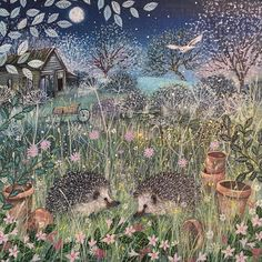 Some night time friends xxx Fairytale Art, Naive Art, Woodland Creatures, Wildlife Art, Whimsical Art, Cute Illustration, Illustrations, Pretty Pictures, Cute Art
