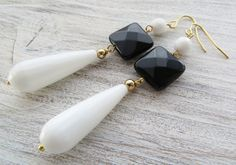 White drop earrings agate earrings black onyx earrings drop