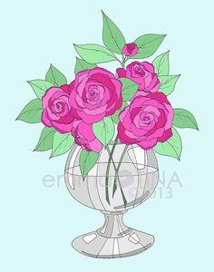 Bright Roses... Print by emmakisstina on Etsy, kr80.00