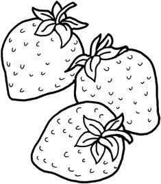 Three Strawberries Coloring page