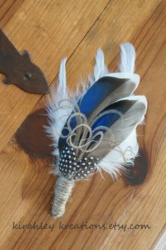 THANDION 2 -- A Rustic Something Blue Mallard Feather and Twine Boutonniere Perfect For The Groom