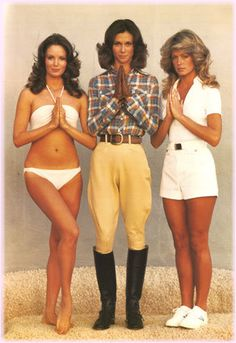 Charlies Angels from the 1970s TV series: Jaclyn Smith (in the bikini), Kate Jackson (in the riding outfit) & Farrah Fawcett (in shorts). Which was your favourite? 1970s