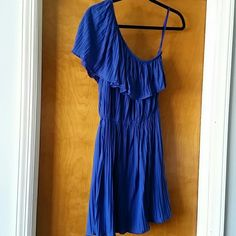 Do & Be One Shoulder Dress Knit, one shoulder, pleated dress. A-line silhouette. Can be belted over waist for another look.  Stunning color. Only worn once. Do & Be Dresses One Shoulder