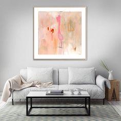 Large pink abstract painting original abstract by SarinaDiakosArt