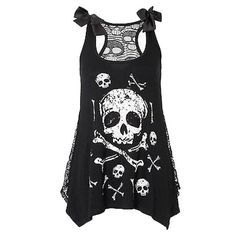 Loose Lace Skull Top