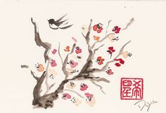 I love Asian artwork especially with birds and cherry blossoms. I think the simplicity makes it really beautiful.